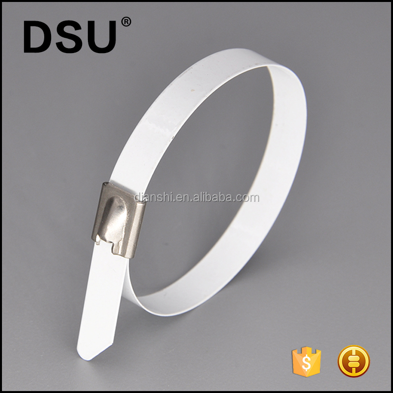 White color PVC Coated Heavy Duty Loop Ties Wire Self Locking Stainless Steel Metal Cable Ties Strap 100 Pcs