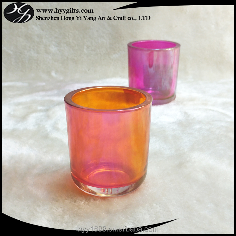 factory supply orange gloss thick glass candle cup/holder
