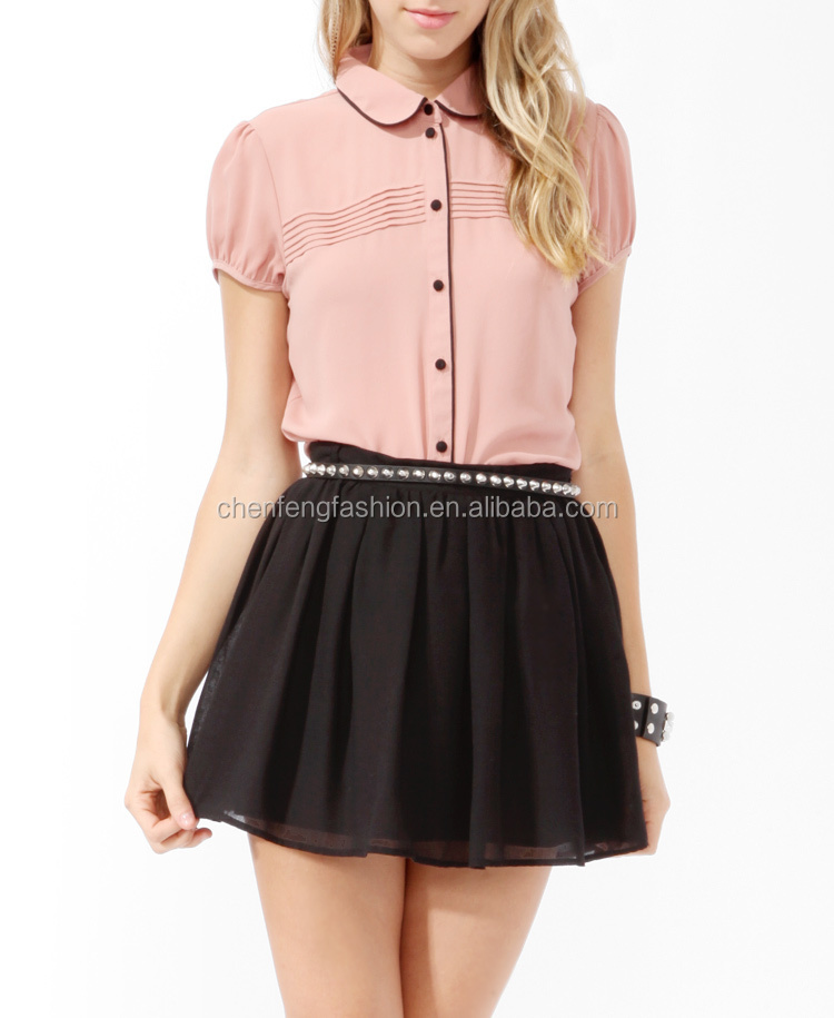 Chefon Pintuck Pleated Button Up Short Sleeved Ladies Formal Skirt ...