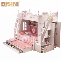 Bisini Wooden Kids Bunk Bed with Wardrobe Stairs, Children Bunk Bed Bedroom Furniture BF09-70000