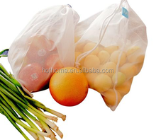 Reusable small Drawstring Mesh Produce Bags For Store Food Fruit & Vegetable