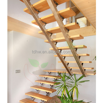 Silver Double Box Beam Stairs With Open Risers And Wood Pedals