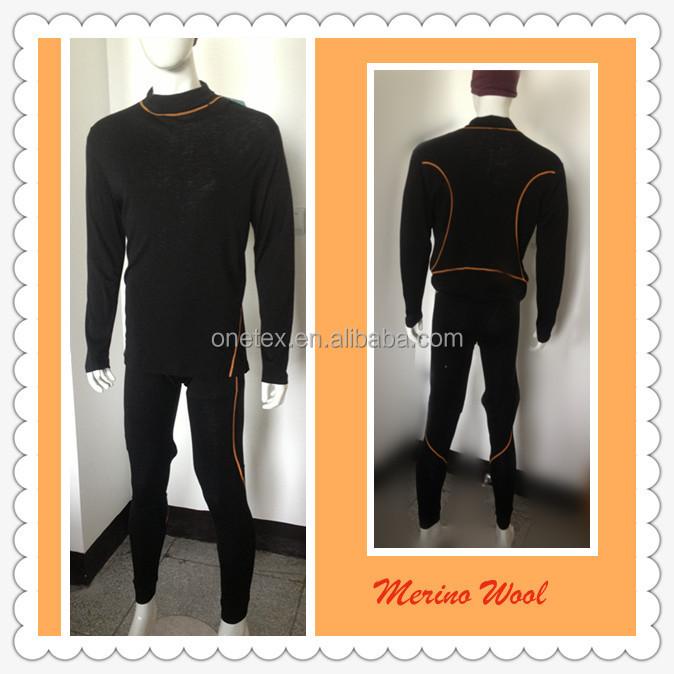Men's merino wool terry long underwear