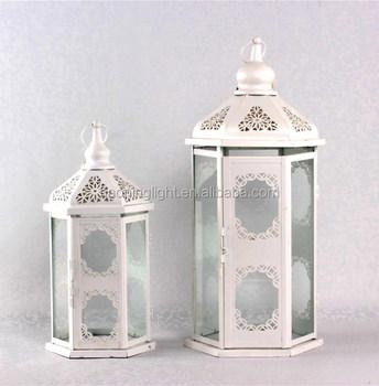 White Metal Gl Candle Holder Garden Lantern Wedding Decorative