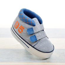 2018 Wholesale Baby Boy Blue Plaid Soft Canvas Shoes For Newborn Baby