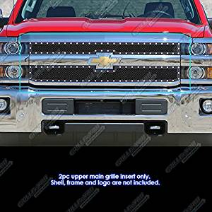 Fits 2015-2016 Chevy Silverado 2500HD/ 3500HD Stainless Black Mesh Rivet Grille #CL6318H