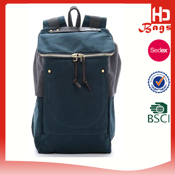 China 2016 function teenager plain blank dark blue canvas backpack