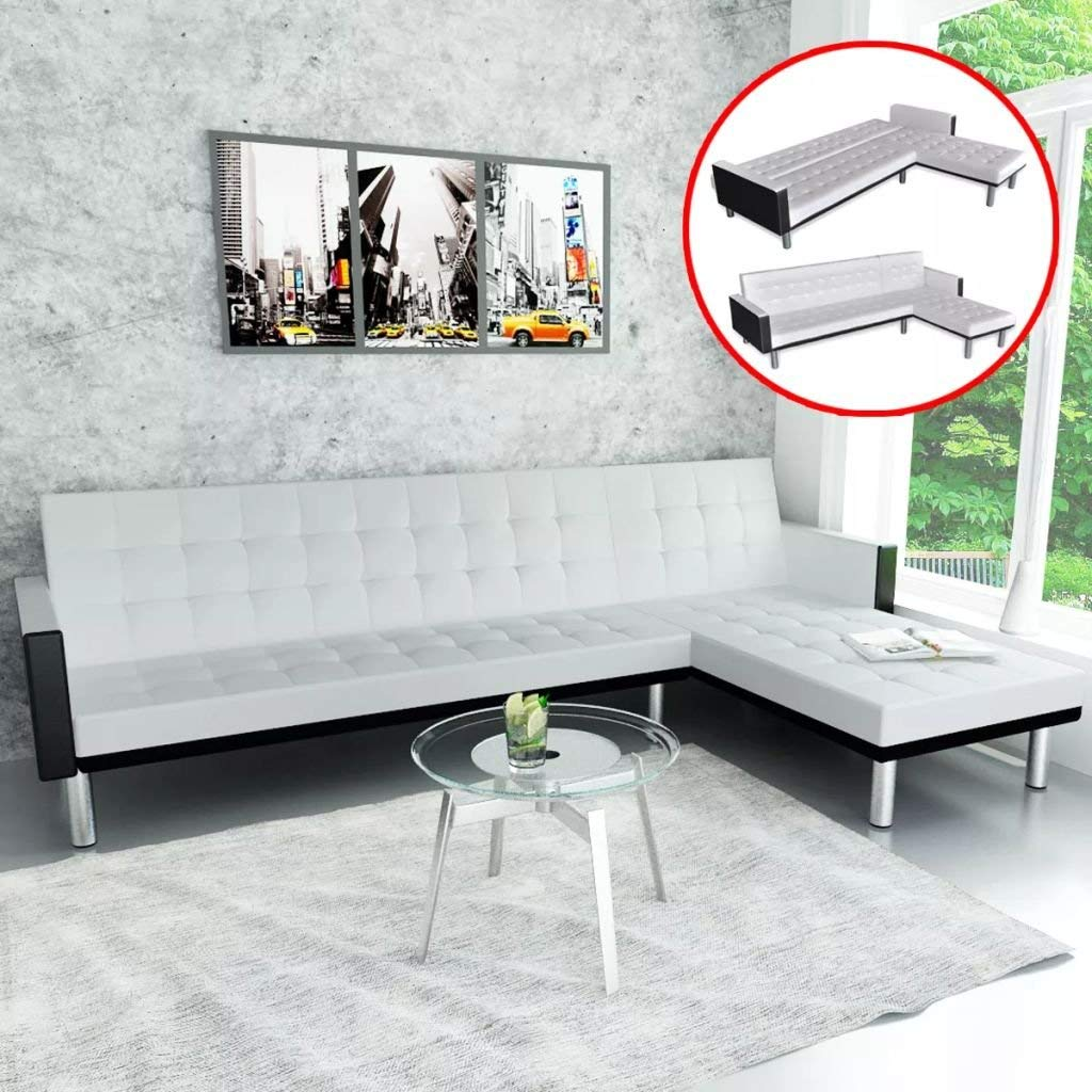 L-shaped Sofa Bed Artificial Leather White and Black Sofa Bed Sectional Sofa Sofa Bed Can Be Converted From A Sofa To A Bed And Back Again Quickly And Easily