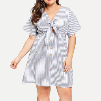 Custom Short Sleeve Breasted Cut Out Knot Front Black White Striped 3XL  Plus Size Summer Dress for Women, View plus size summer dress, DIVBUNNY ...