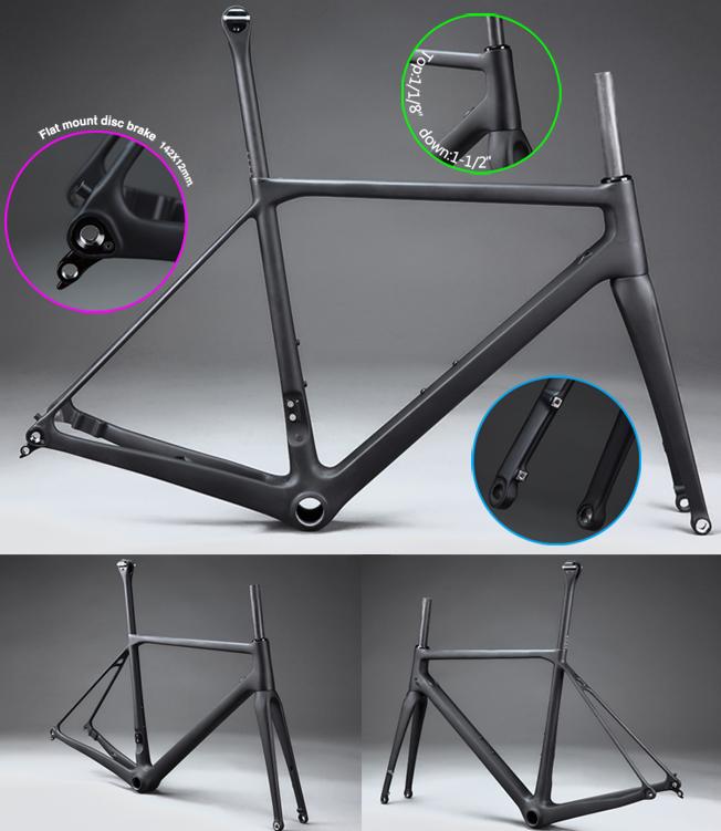 2017-2018 Newest Flat Mount disc carbon road frame! road disc brake bike carbon frame axle design HF-FM088