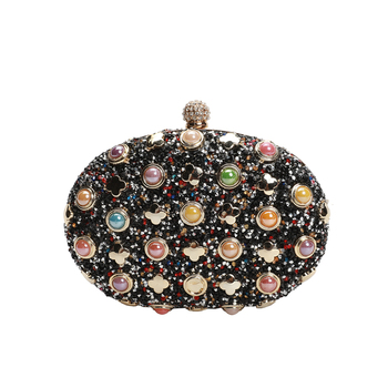 Women's Crystal Evening shoulder bag Retro Beaded Clutch Wedding Pearl purse evening party clutch bag