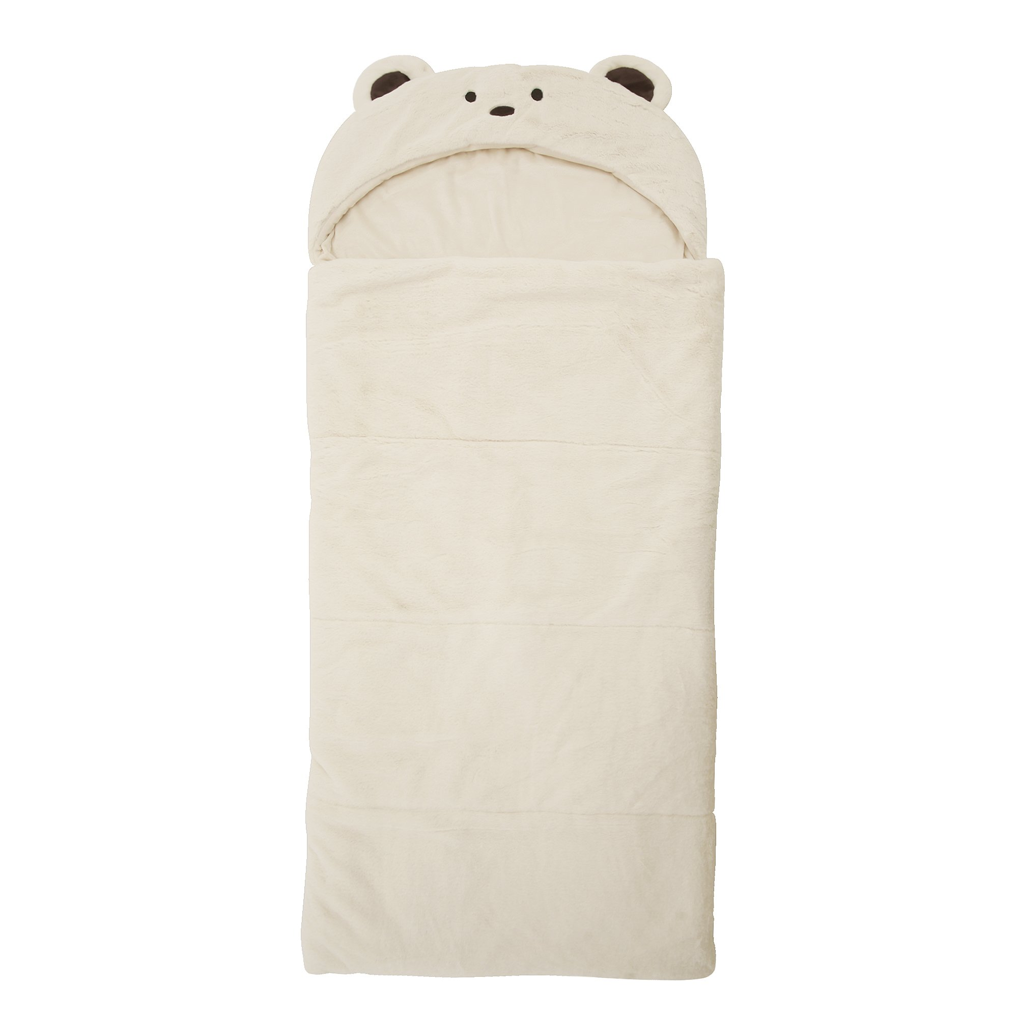 cb6d0b096b Get Quotations · Best Home Fashion Plush Faux Fur Hooded Bear Animal  Sleeping Bag - Cream - 27
