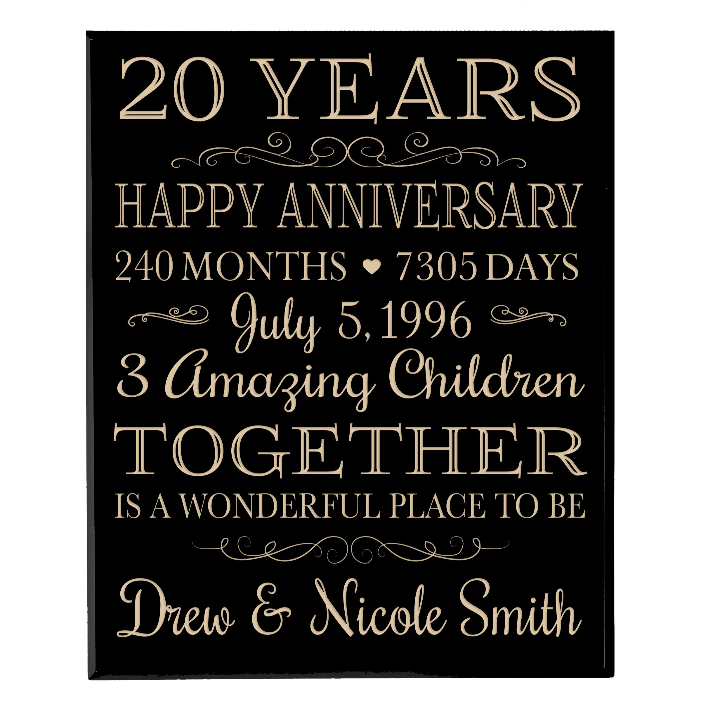 Personalized 20th Anniversary Gifts ideas for Couple, happy 20 year anniversary Gift for Her and