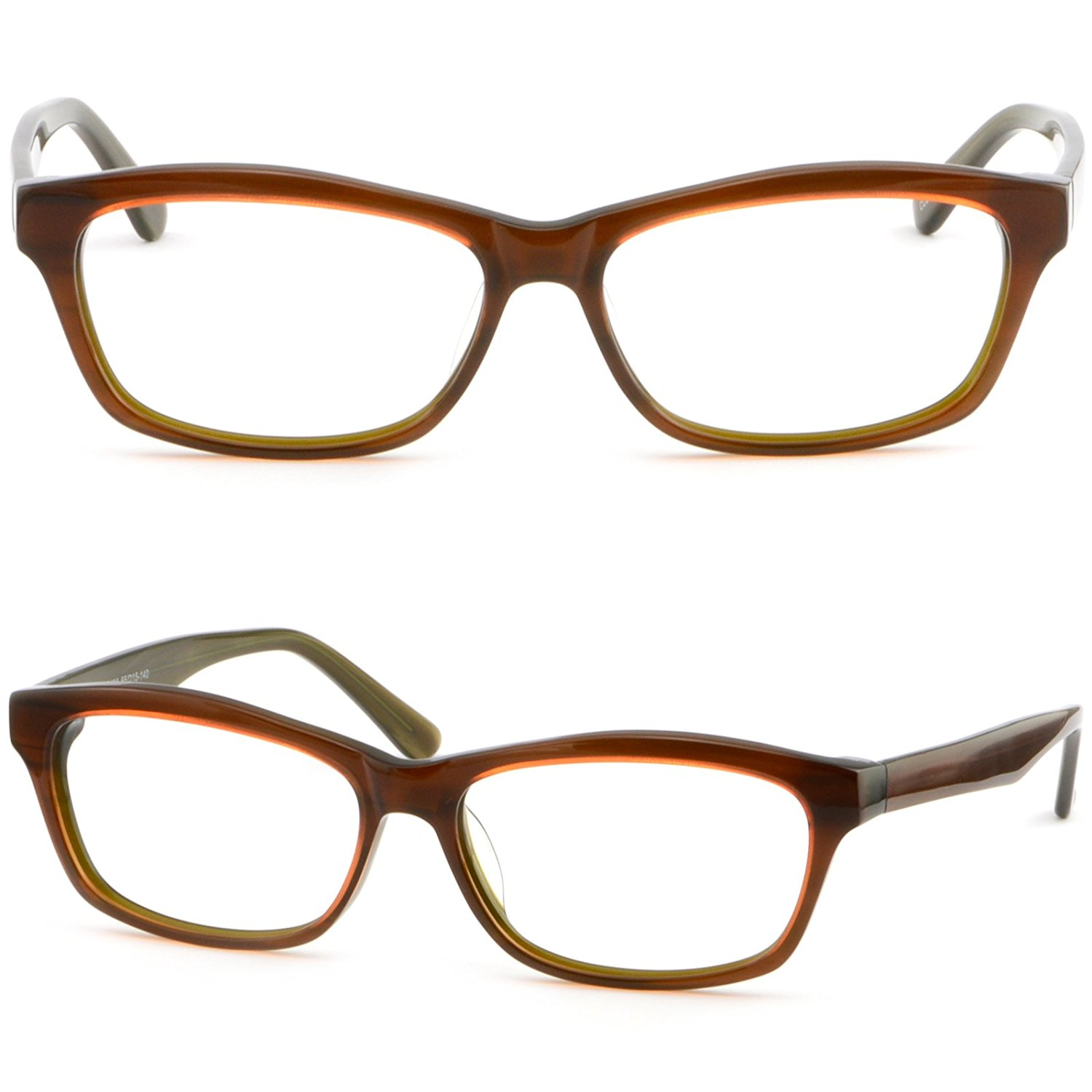 Rectangular Unisex Frames Prescription Glasses Sunglasses Acetate Plastic Brown