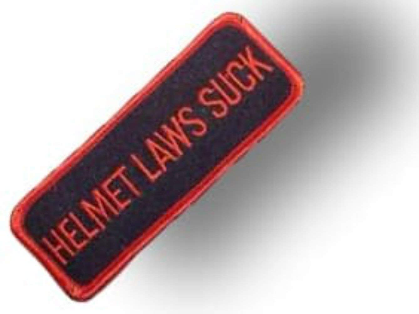 "[Single Count] Custom and Unique (4"" X 1 1/2"" Inches) Square Funny ""Words"" Helmet Laws Suck Text Word Bold Capital Font Style w/ Thick Outline Iron On Embroidered Applique Patch {Red & Black Color}"