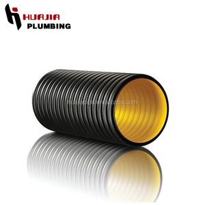 JH0572 red corrugated pe pipe polyethylene double wall plastic corrugated tube ribbed plastic pipe