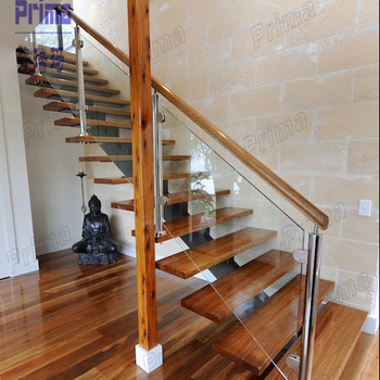 Indoor Wooden Steps Staircase Glass Railing Designs