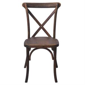 Hotel Antique Stackable Wooden Vineyard Rustic X Cross Back Chairs