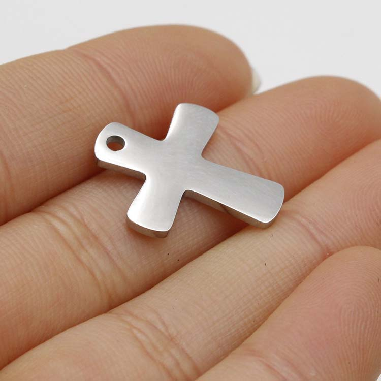 DIY Jewelry Accessories Mirror Polished Stainless Steel Metal Cross Pendant Charms for Necklace Bracelet