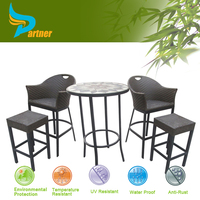 Outdoor Patio Wicker Furniture New Resin 2 pcs Bar Dining Server Table & Barstool Set