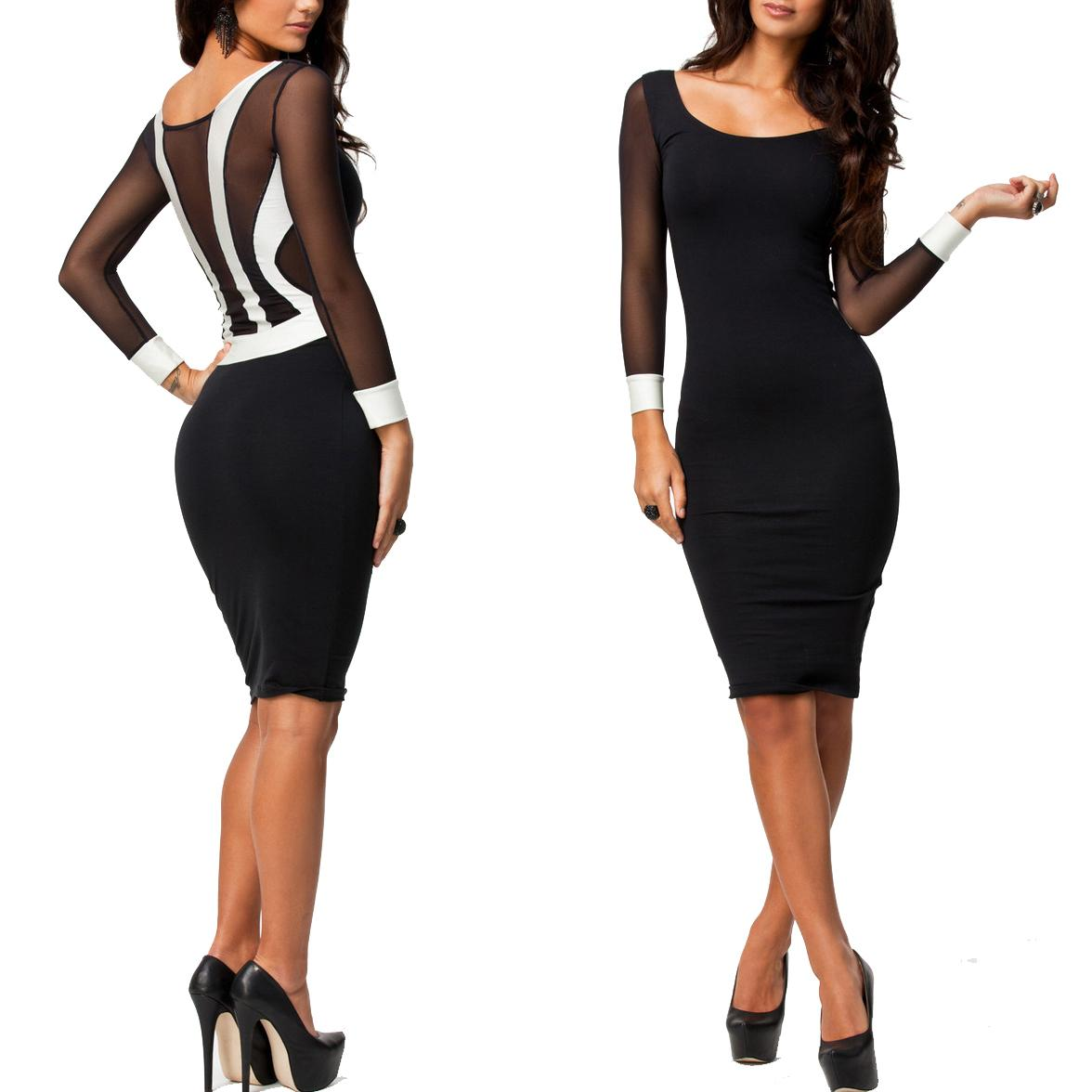 d9924b9a9f0f elegant women party dress long sleeve transparent mesh women s bodycon knee  length pencil dress slim bandage