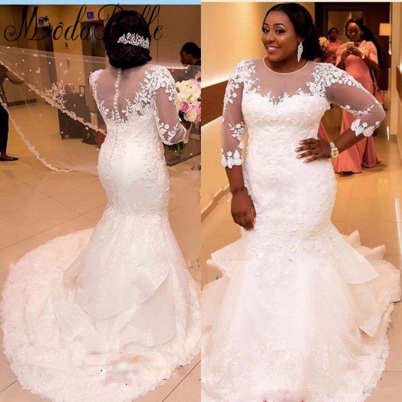 NE183 Afrika Bridal Gowns White Lace Mermaid Wedding Dresses Ukuran Plus Tiga Perempat Bride Dresses 2017