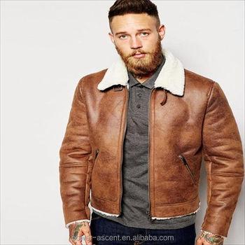 2016 Hot Sale Cool Men Faux Shearling Suede Jacket In Tan Buy