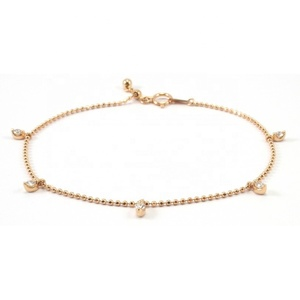 Delicate rose gold jewelry fancy bead chain bracelet design for girls