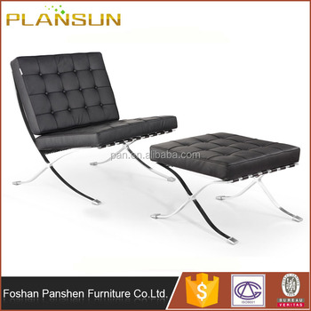 modern replica furniture stainless steel frame knoll style leather