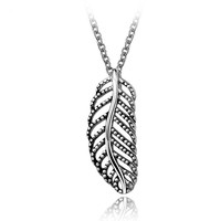 leaves shape Steel Color Punk Hollow Leaf Pendant Chain 316L Stainless Steel Necklace