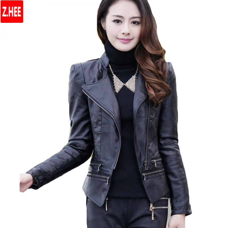 Short Leather Jacket Slim Zipper Pu Leather Jackets Women Fashion Retro High Waist Leather Jackets