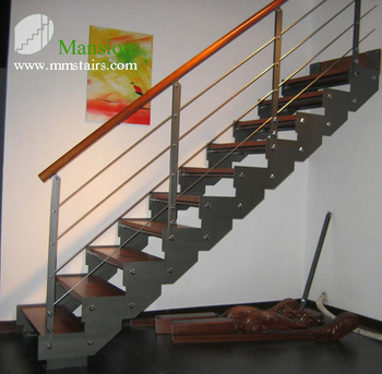 Steel Wood Attic Stairs For Villa