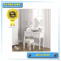 White dressing table cosmetic table with mirror and stool