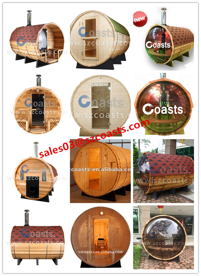 New style (4~6person)Outdoor with porch barrel wooden Sauna Room