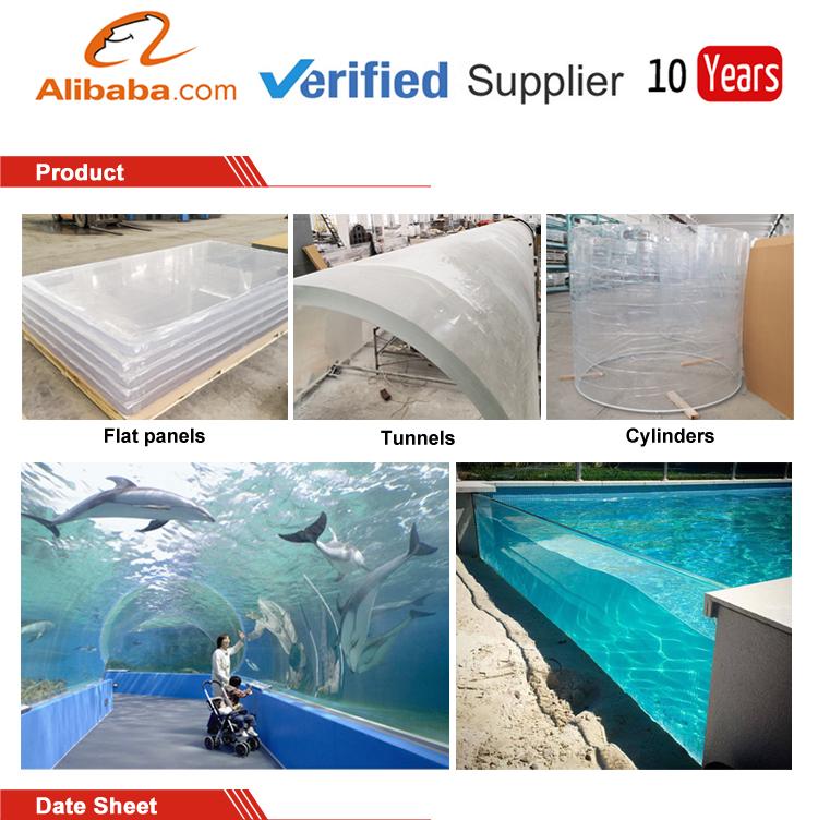 90mm 100mm verre Acrylique pour piscine extérieure