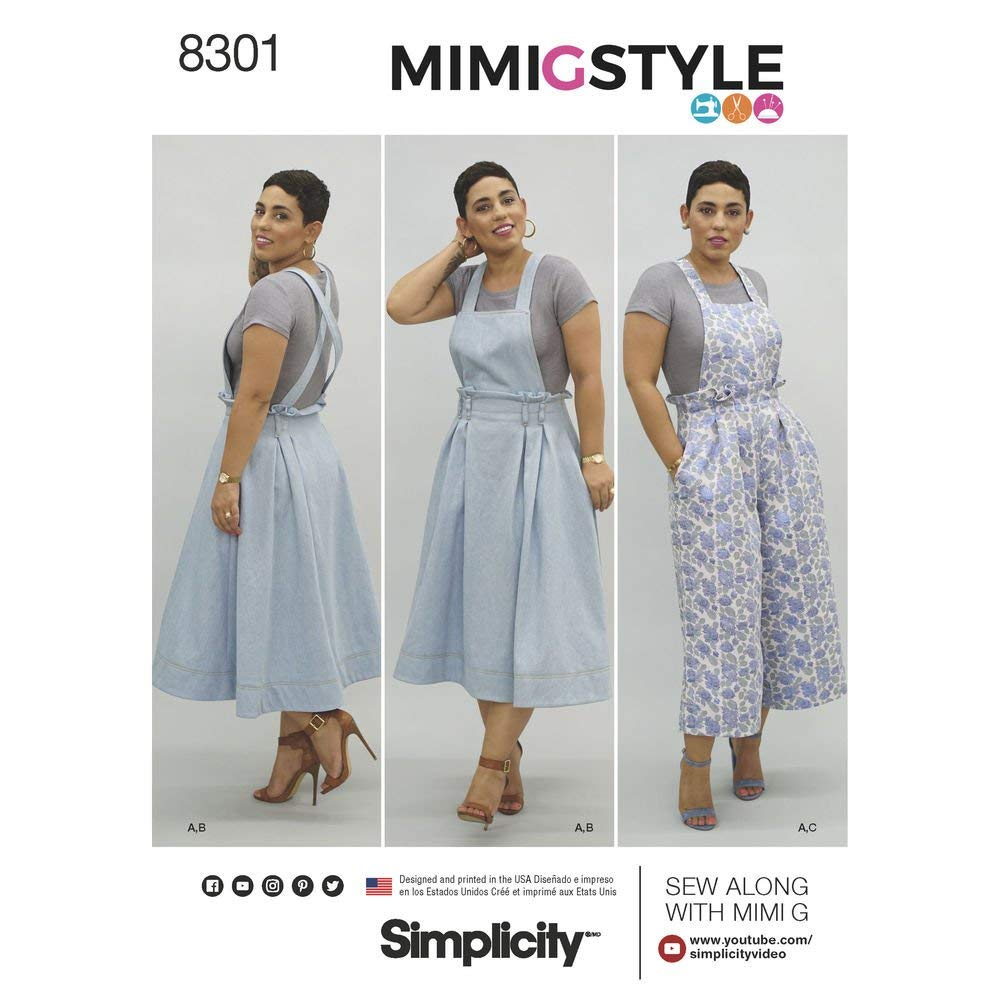 Simplicity Pattern 8301 U5 Mimi G Style Misses' Overalls and Knit Crop Top, Size 16-24