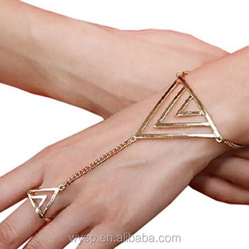 Summer Fashion Women Simple Chain Bracelet Finger Ring Slave Bangle Hand Harness Bracelets