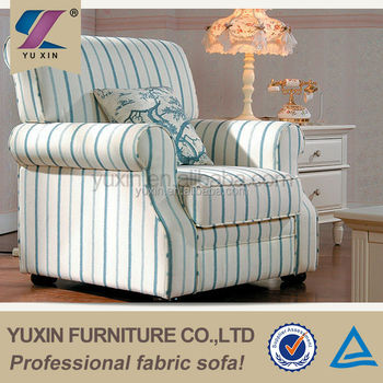 Hotel Stripe Sofa Armchair Single Chair In Fabric Blue Striped Patterned Sofas Product On Alibaba