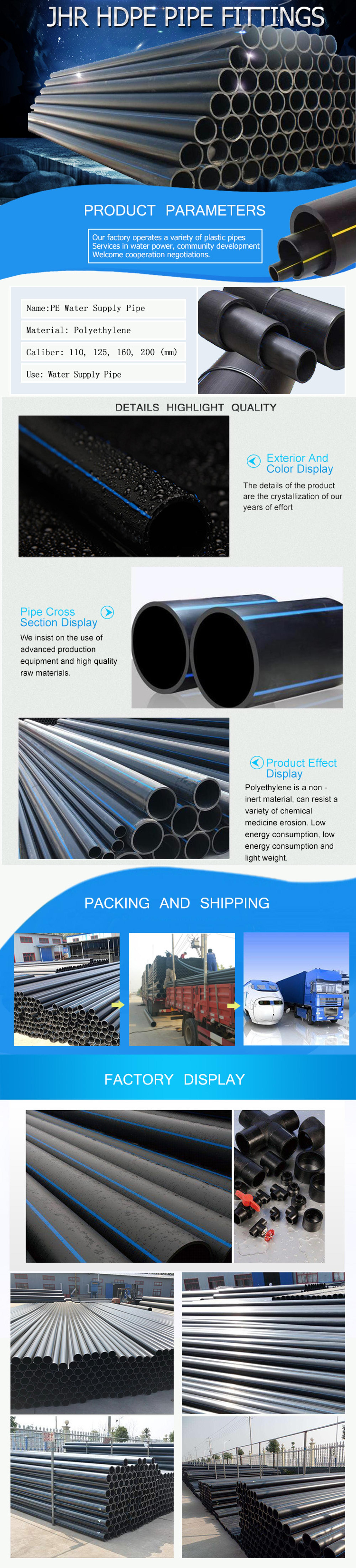Good Price 20mm to 1400mm Large Size Agricultural Plastic HDPE Pipe for Water Supply