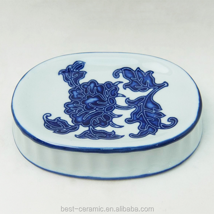 Antique bathroom hand made blue and white decal wholesale ceramic soap dish