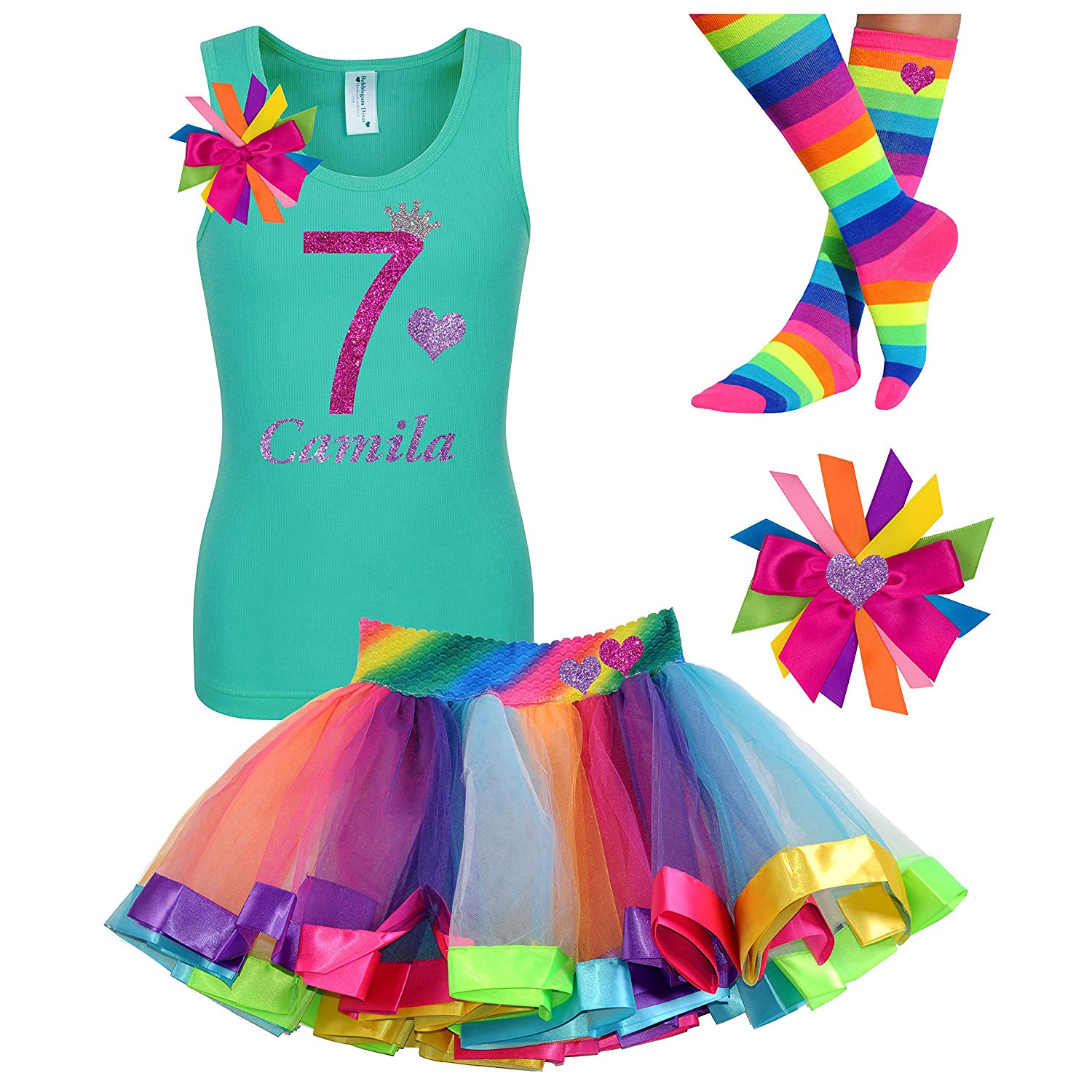 Get Quotations 7th Birthday Shirt Rainbow Heart Tutu Outfit 4PC Gift Set Socks Hair Clip Customized Name 7