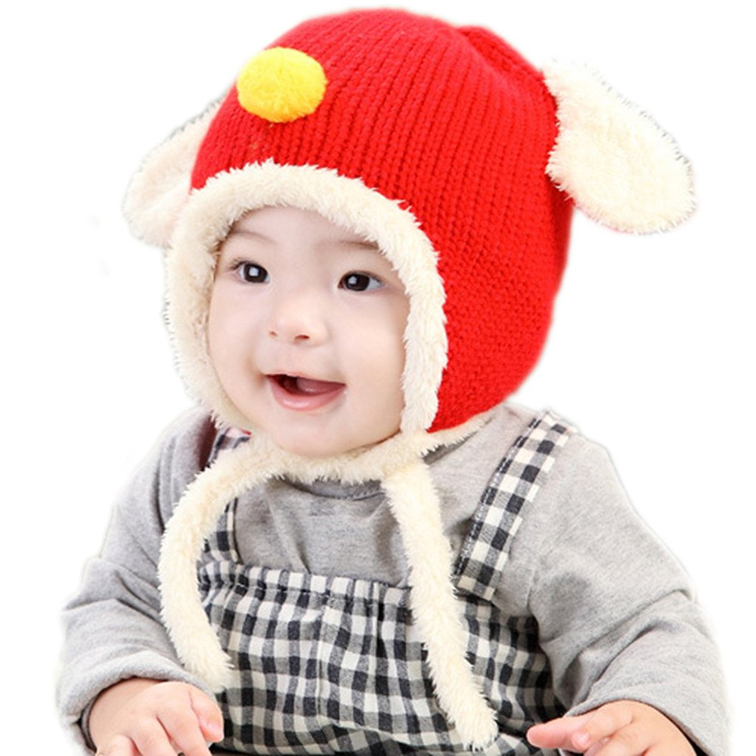 d5300a8043547 Get Quotations · RIY Baby Girls Boys Winter Bomber Trooper Hat Kids Knit  Sherpa Hats with EarFlap