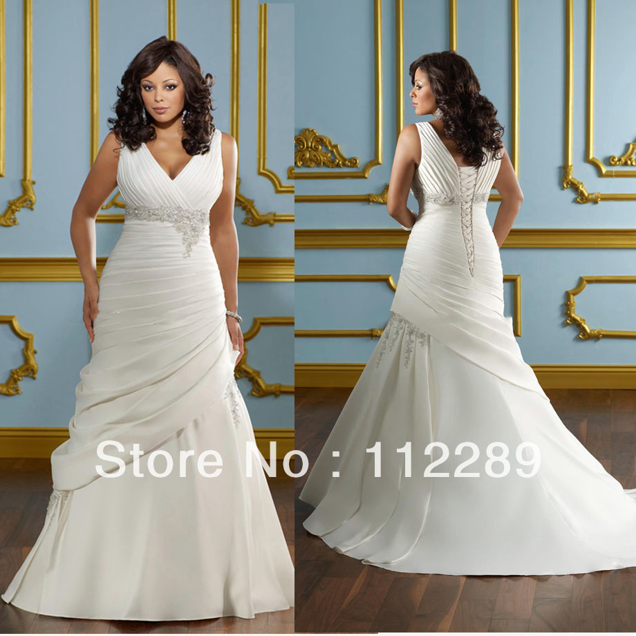 Plus Size Wedding Gown Patterns: White Spaghetti Strap Soft Stain Lace Up Super Plus Size