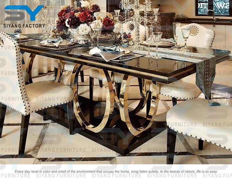 Scandinavian Furniture Glass Dining Set 8 Chairs Dubai Table CT008