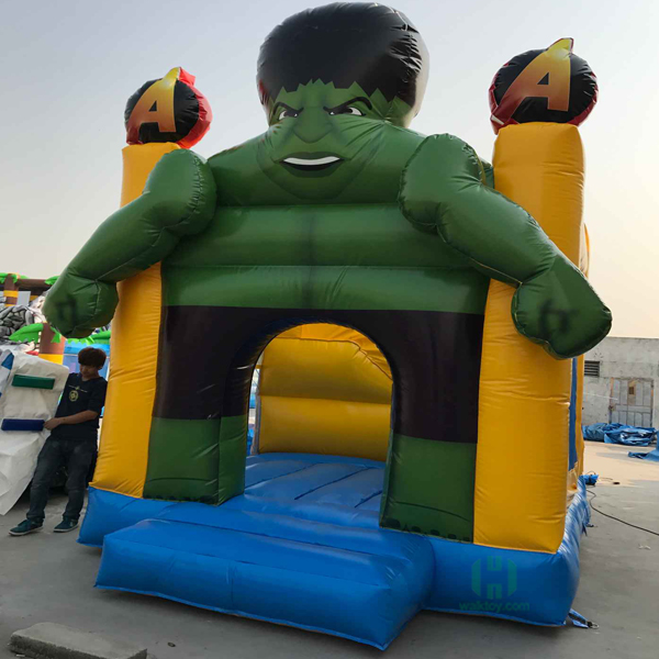 HI hot selling Hulk themed inflatable bouncer castle combo slide