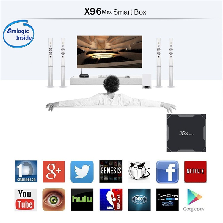 Deft design X96 Max USB3.0 HD2.14K HDR+ 2.4G/5.8Gdual-band wifi smart tv box android 9.0