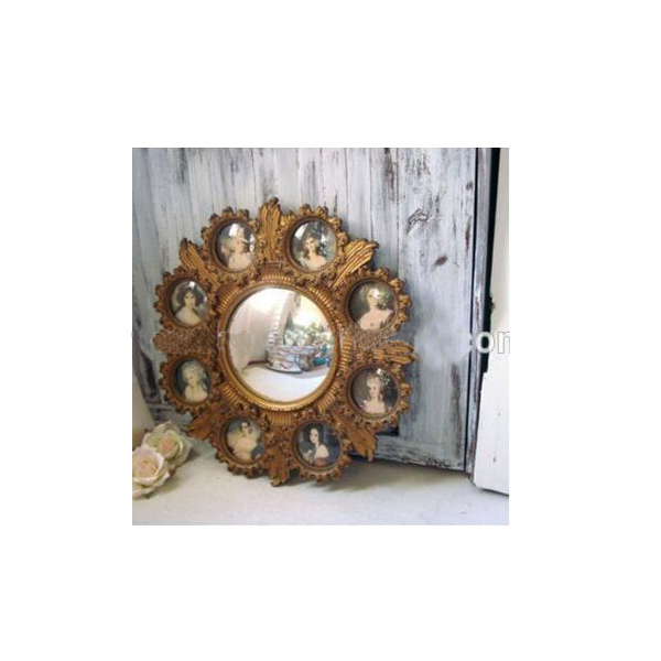Vintage Cameo Round Mirror With Small Frames Victorian Inspired Wall ...