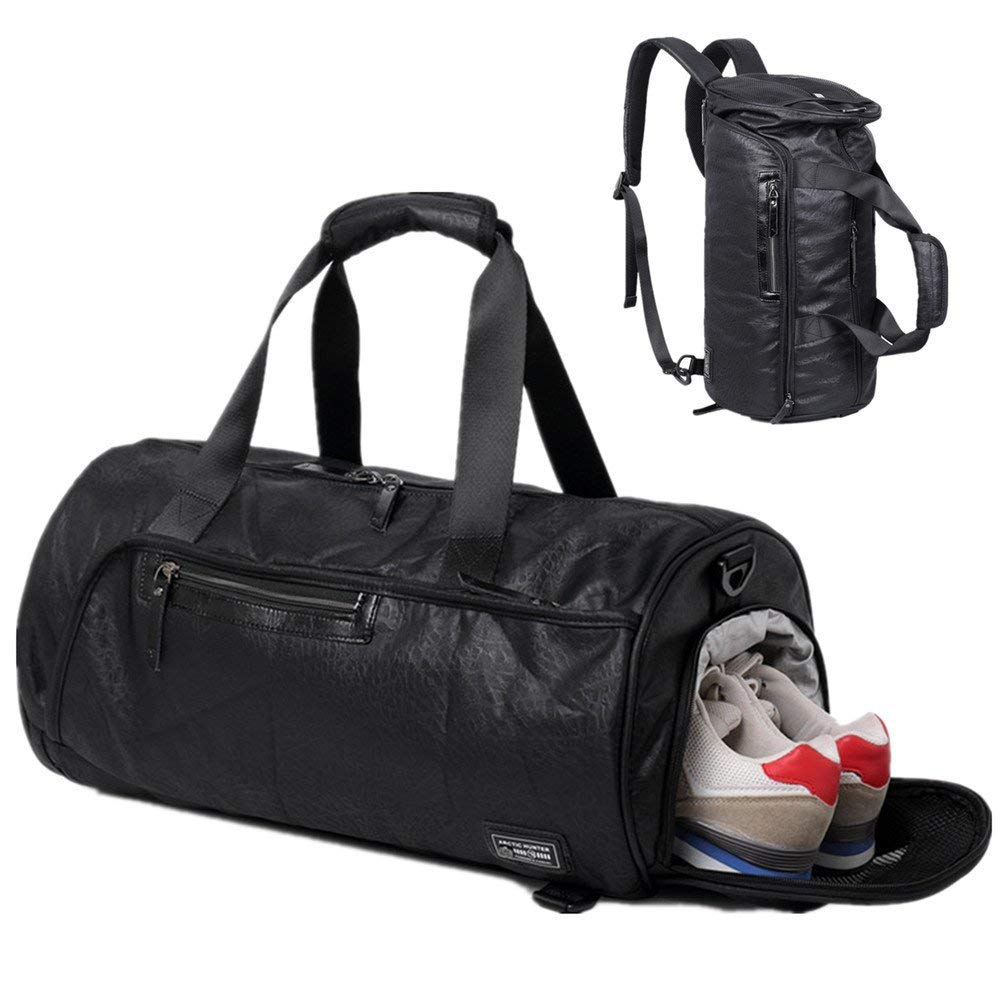 0908e0f3bc BLUBOON Gym Duffel Bag Sports Travel Backpack Weekender Overnight Tote Bag  with Shoe Compartment