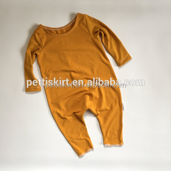 Hot Sale Boutique Newborn Baby Clothes Romper Cotton Plain Yellow Blank Baby Girls Long Sleeve With Long Pant Bodysuit