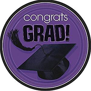 "Amscan Flying Colors Graduation Party School Colors Round Plates, 9"" Purple Tableware, Purple, Paper , 9"" Pack of 18 Party Supplies"